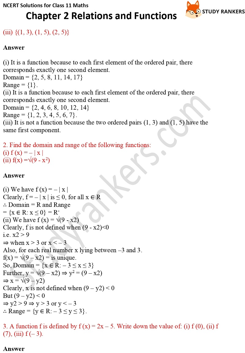 NCERT Solutions for Class 11 Maths Chapter 2 Relations and Functions 7