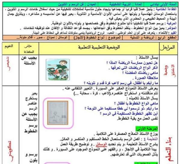 مذكرة أنواع الخطوط السنة الاولى 1 ابتدائي الجيل الثاني