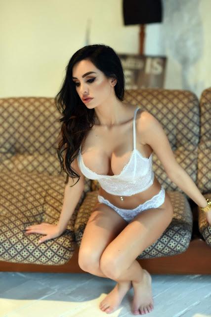 Ann Denise White Lingerie hot sexy cleavage big boobs