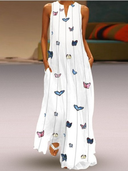 Butterfly Printed Maxi Shift Dress– Price:$31.75