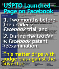 USPTO announced Facebook Page on May 20, 2010