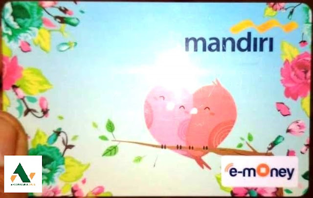 mencetak logo di kartu e-money bank mandiri