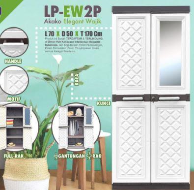 daftar harga Lemari Pakaian Plastik 2 Pintu Akako Elegant Kaca Gantung