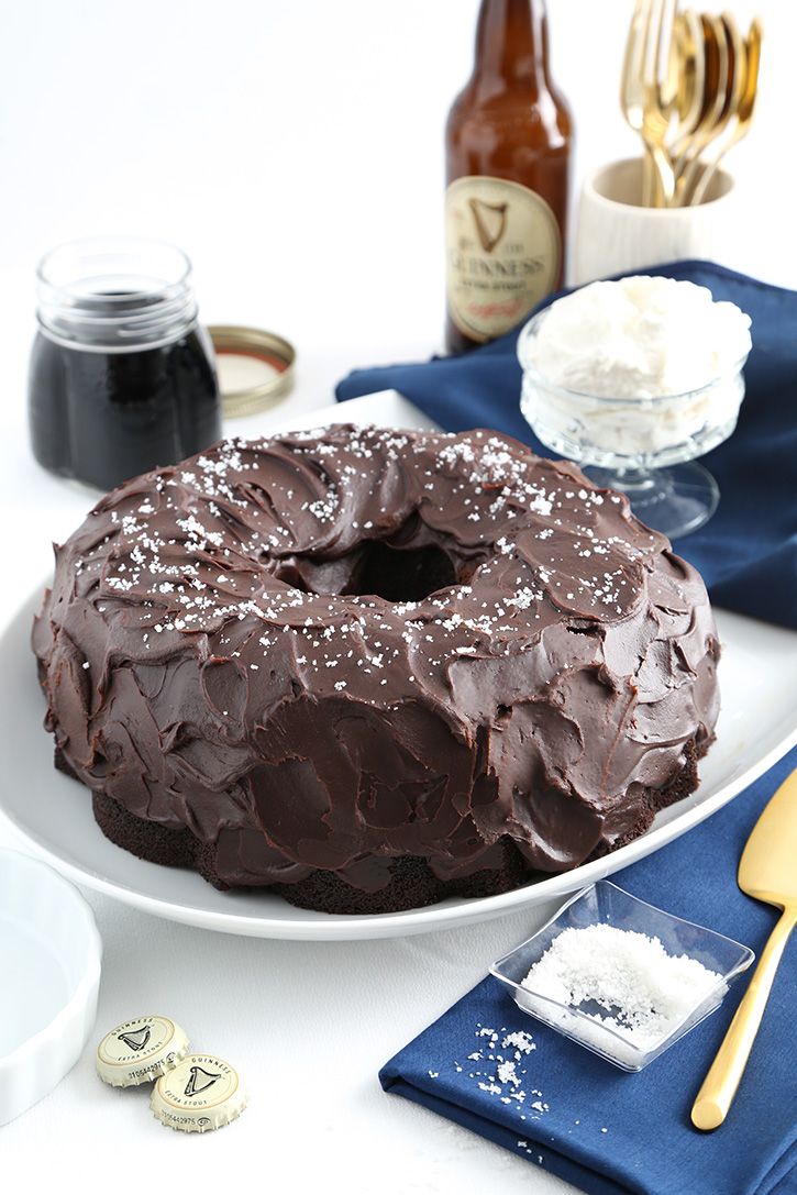 Ginger Molasses Stout Cake with Beer Ganache Icing