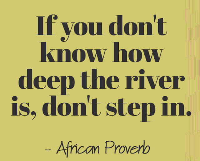 If you don't know how deep the river is, don't step in. - African Proverb