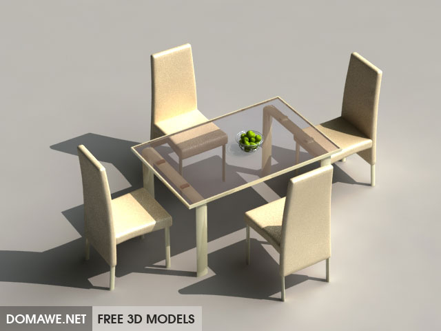 DOMAWE net: Table & Chairs 27 - Free 3D Models