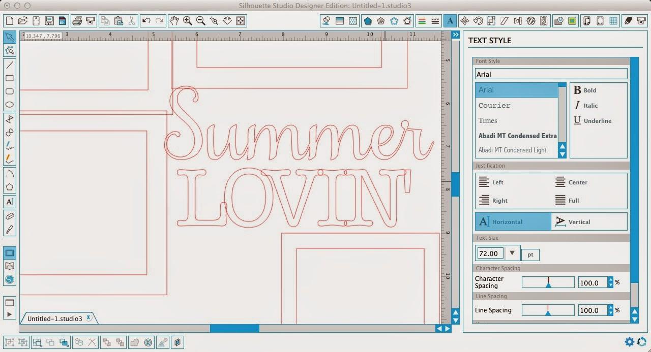 Silhouette Studio, Silhouette tutorial, frame, text, scrapbook layout