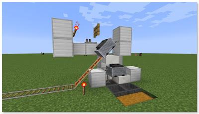 Minecraft 高速トロッコ輸送 アイテム荷降ろし駅 断面図