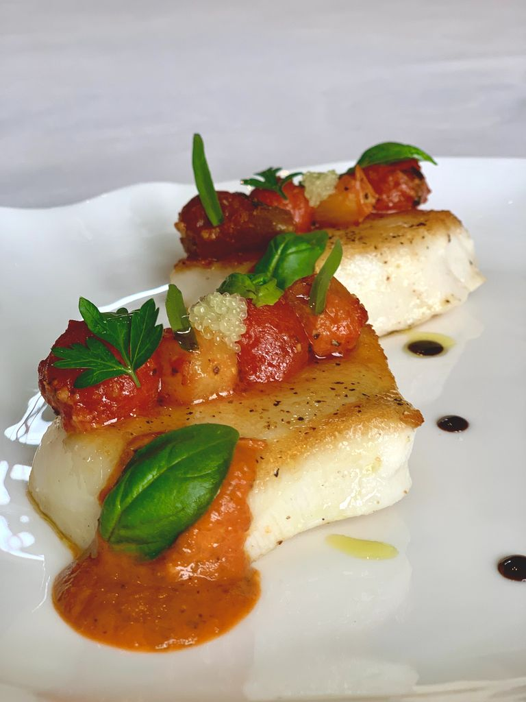 Pan Roasted Sea Bass with Spicy Cherry Tomatoes Recipe