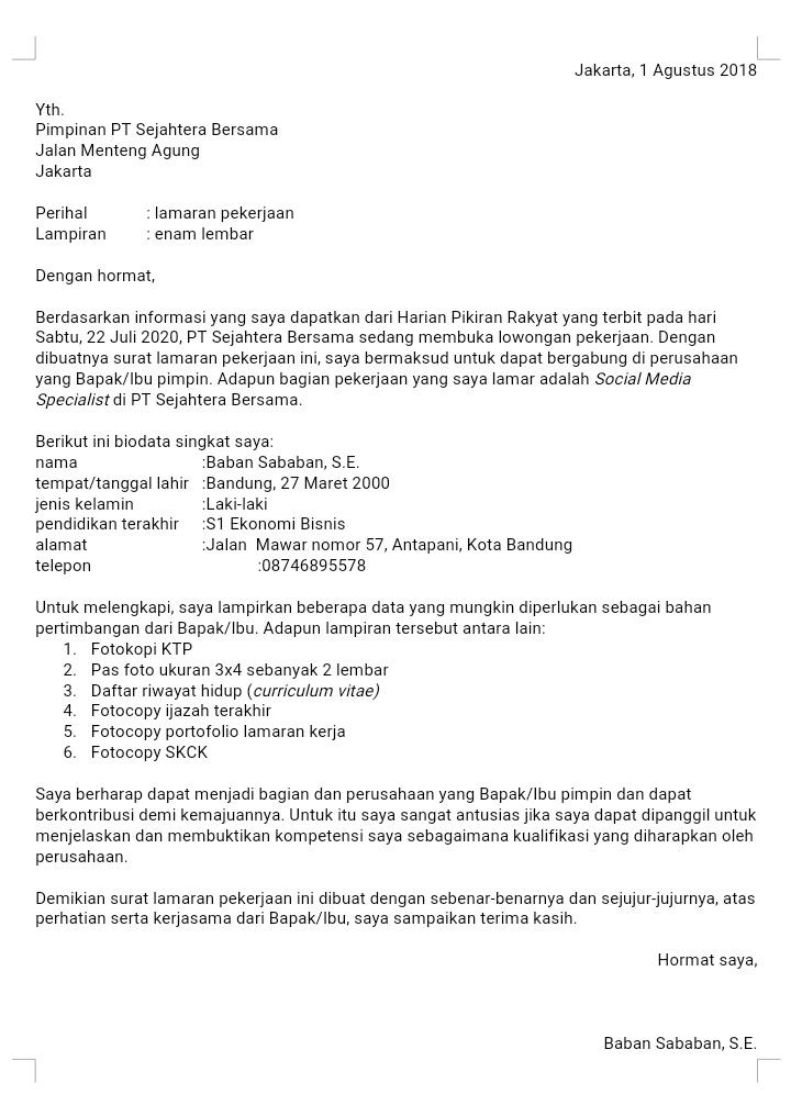 18 Contoh Surat Lamaran Kerja Sesuai Kaidah Bahasa Indonesia