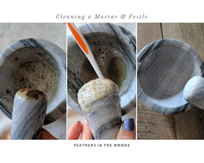 cleaning a mortar and pestle