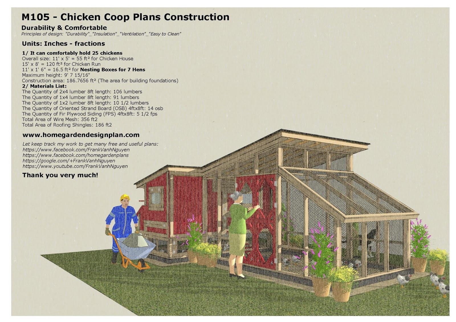 m105 chicken coop plans construction - Chicken Co Op Plans And Greenhouse