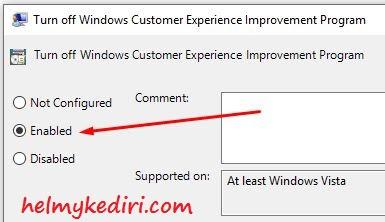 Nonaktifkan fitur Customer Experience