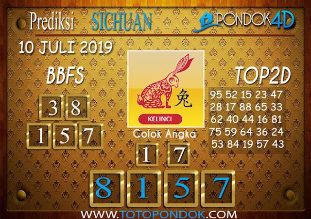 Prediksi Togel SICHUAN PONDOK4D 10 JULI 2019