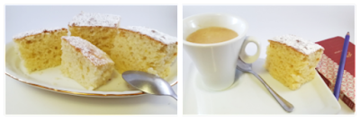 coca de llanda en plato y con un cafe