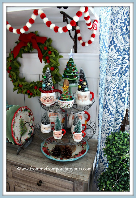 Christmas Farmhouse Cottage Breakfast Nook-Vintage-Santa-Mugs-Pioneer-Woman-- From My Front Porch To Yours