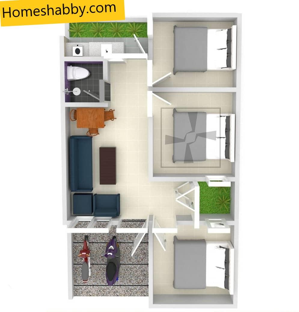 denah rumah type 36 3 kamar tidur
