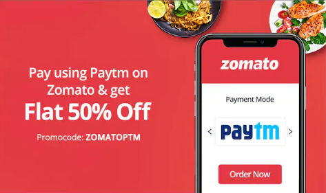 Paytm Zomato Offer: Get 50% Off Up to Rs.100 on Food Order