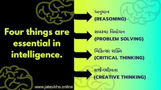 બુધ્ધિ માં ચાર વાતો આવશ્યક છે.  (1) અનુમાન(#Reasoning), (2) સમસ્યા વિમોચન(#Problemsolving), (3) ચિકિત્સા શક્તિ(#Criticalthinking) અને  (4) સર્જનશીલતા(#Creativethinking). તાત્પર્ય:શાસ્ત્રીય દૃષ્ટિથી બુદ્ધિ ચલાવવી જોઈએ.The top 4 things you need to know about intelligence,Types Of Intelligence,Intelligence Facts,Theories of Intelligence in Psychology,Examples of Artificial Intelligence in Daily Life.
