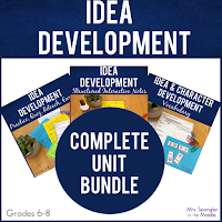 Everything you need to teach idea development with built-in differention so you can teach, remediate and enrich your middle school students!  Just print, makes copies and teach!  #lessons #activities