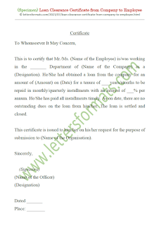 loan clearance certificate from company to employee