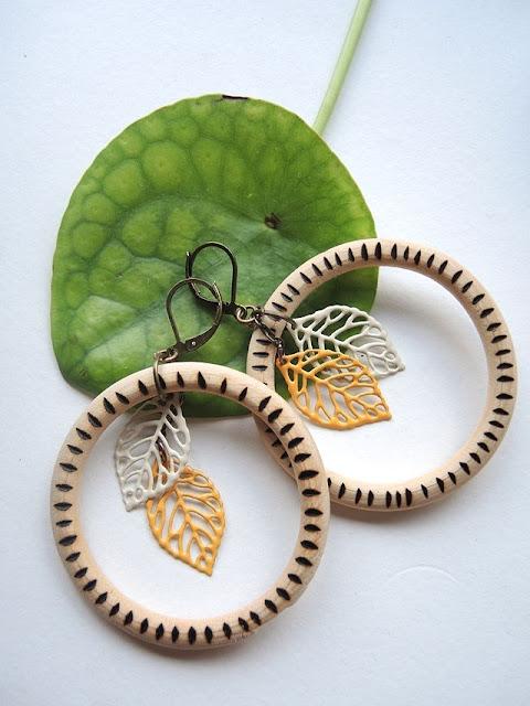 diy wood burned earrings