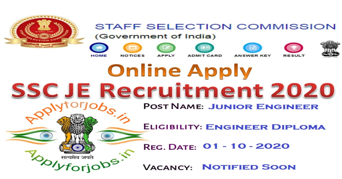 SSC JE Online Application 2020 Notification, applyforjobs.in