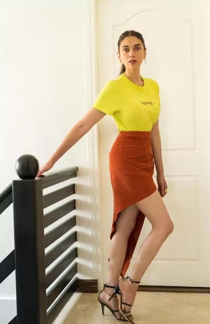 aditi-rao-hydari-hot-looks-in-yellow-top-and-brown-asymmetrical-skirt