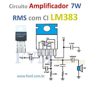 Circuito Amplificador 7W a 11W RMS com CI LM383