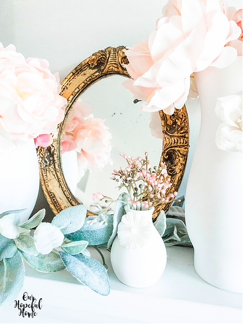 shabby chic gilded round French mirror pink peonies lamb's ear