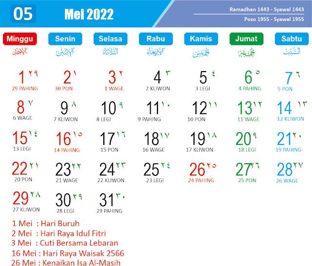 Kalender Mei 2022 - Kanalmu