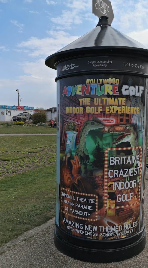 Advert for the Windmill Theatre Crazy Golf in Great Yarmouth. Photo by Christopher Gottfried May 2021