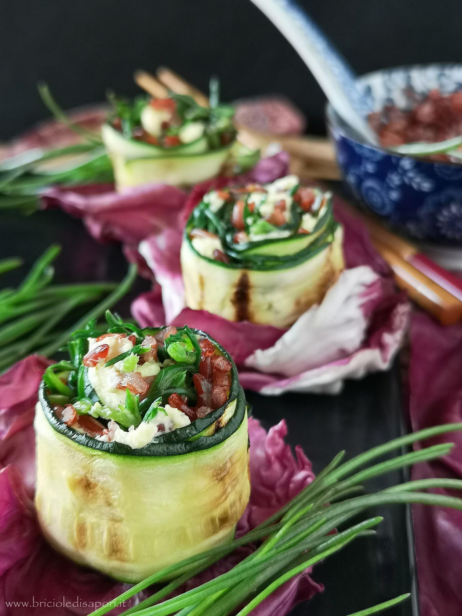 involtini di zucchine con agretti riso rosso integrale e robiola
