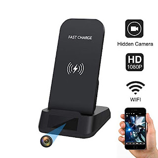 Spy Camera WiFi Hidden Camera with Qi-Certificated Fast Wireless  Charger,Kaposev 1080P Security