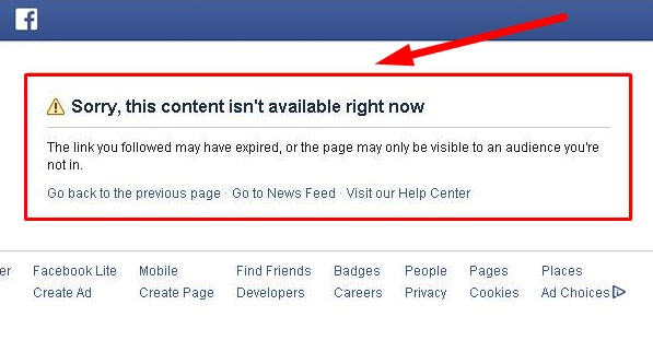 facebook content not available blocked