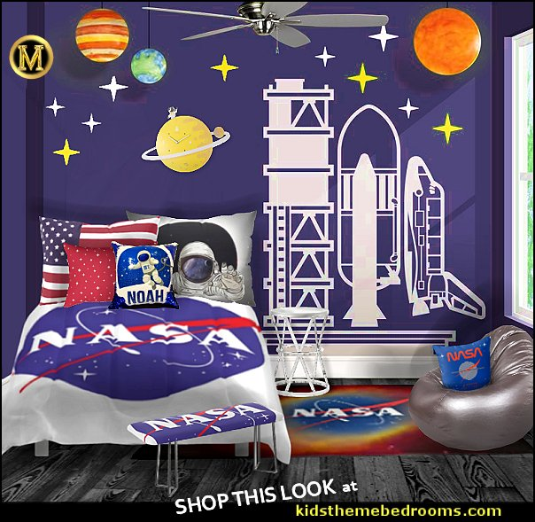 nasa bedroom decor NASA Space Shuttle wall decal Space and Astronaut Themed bedroom decor