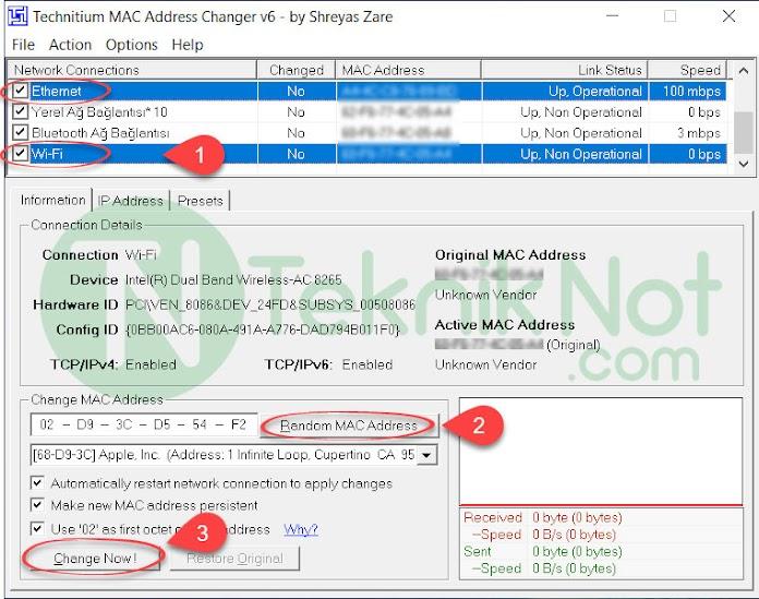 MAC Adresi Değiştirme Windows 10