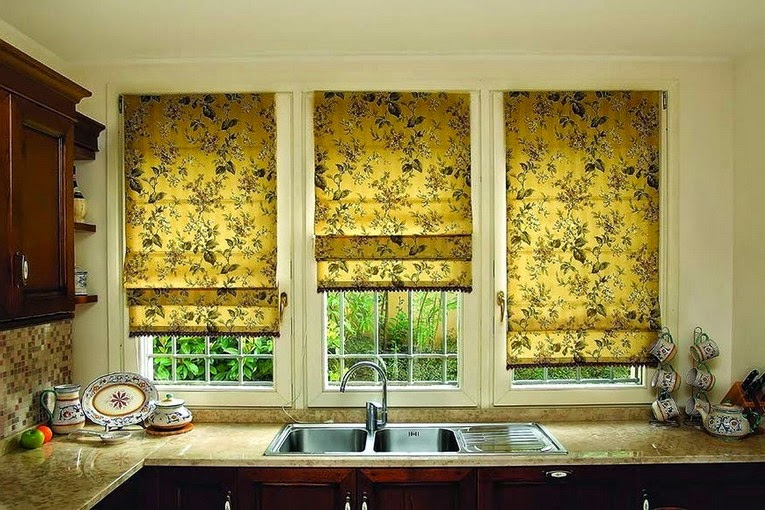 Kitchen Window Curtains And Blinds Made Of Fl Yellow Fabrics