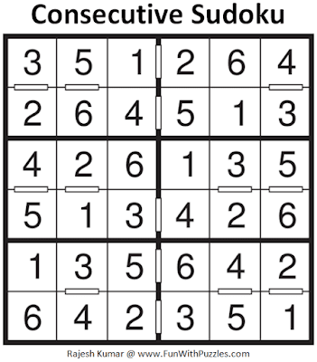 Answer of Consecutive Sudoku Puzzle (Mini Sudoku Series #103)
