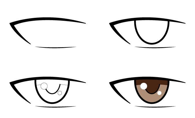 Menggambar mata anime pria langkah demi langkah