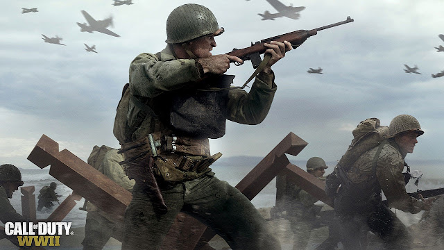 A soilder on the beaches of Normandy, from the upcoming Call of Duty Game