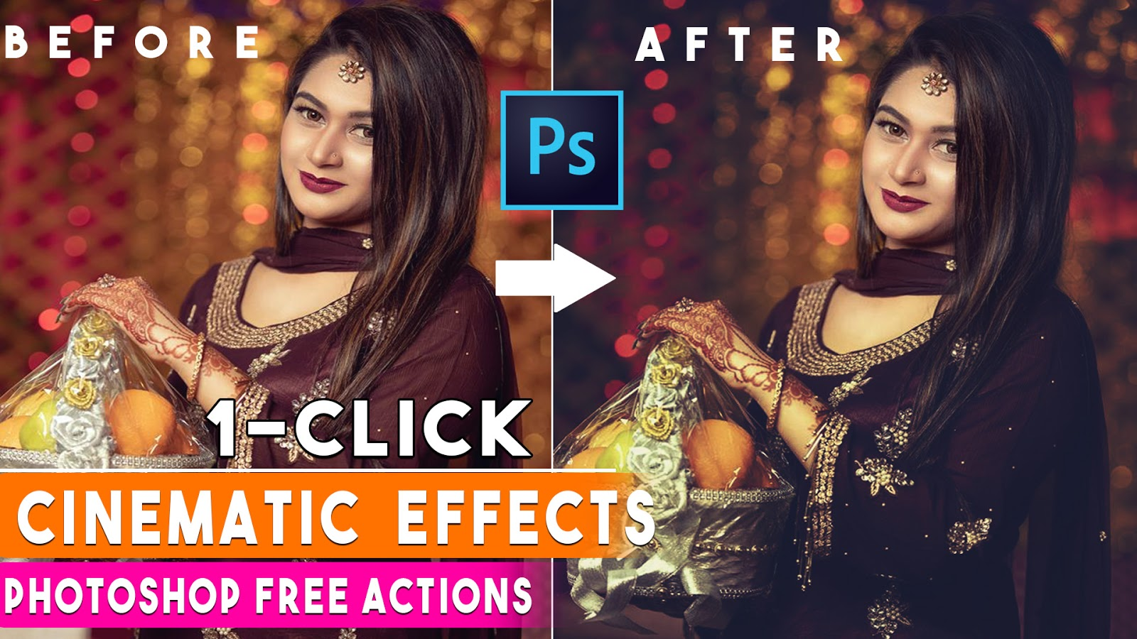 1 Click Cinematic Color Grading Effect Photoshop Actions