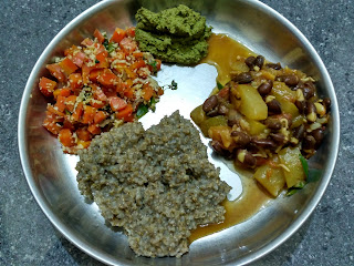 Boiled Pearl millet sprouts, Carrot poriyal, Bottle gourd Lima bean sprouts curry