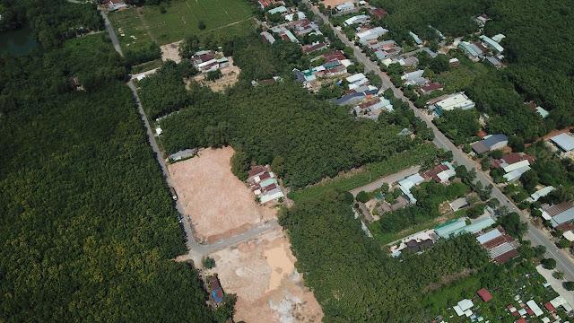 hình ảnh thực tế vị trí đất đang bán tại thị trấn Dầu Tiếng nhìn từ Flycam