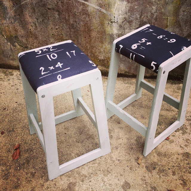 Upcycled Painted And Sewn Together Chairs Bar Stools