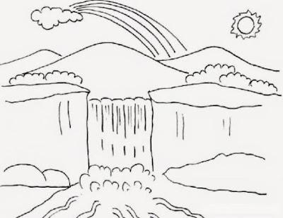 contoh gambar pemandangan alam pegunungan tanpa warna