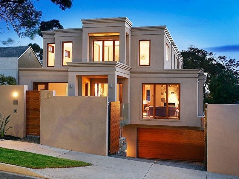 foto fachada de casa moderna con garaje estacionamiento en