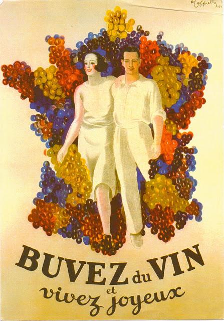Buvez du Vin et Vivez Joyeux French ad from 1939 by Leonetto Cappiello [1875-1942]
