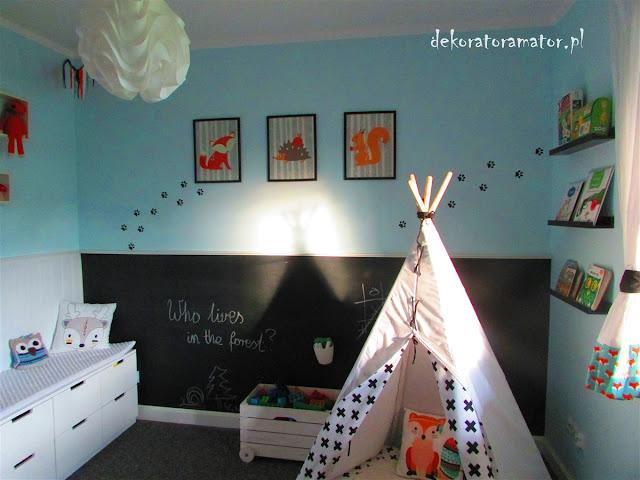 pokój dziecięcy, pokój dla chłopca, pokój leśny, ikea, pokój zabaw, playroom, skandynawski pokój dziecięcy
