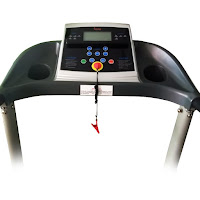 Sunny Health & Fitness SF-T4400 LCD console display, shows stats including time, distance, speed, calories burned, heart rate